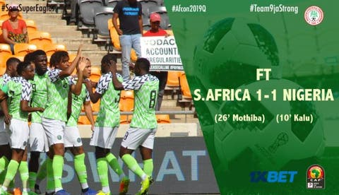 Super Eagles draw South Africa to qualify for 2019 AFCON