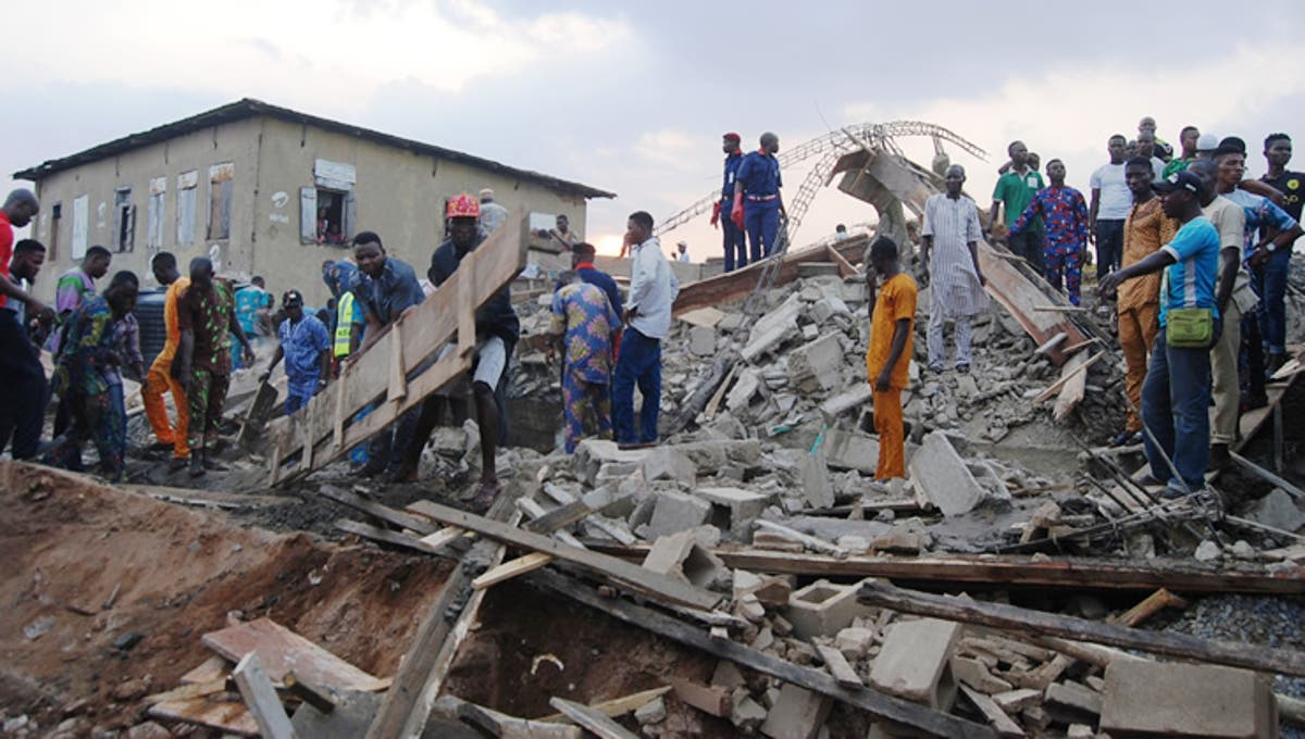 Image result for Three-storey under construction collapses in Enugu