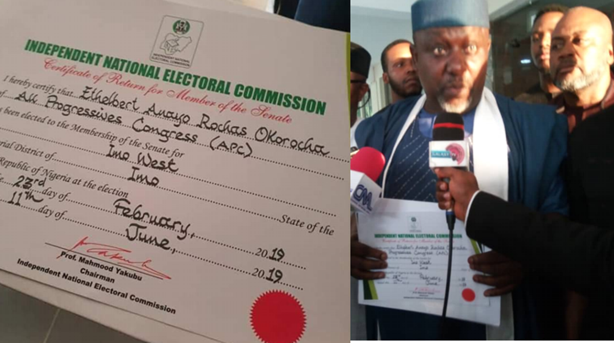 Image result for images of Okorocha Finally Receives His Certificate Of Return From INEC