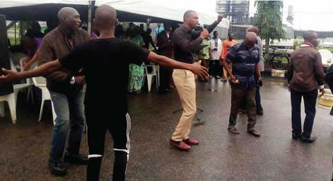 Protesting NNPC workers hold church service inside Warri refinery