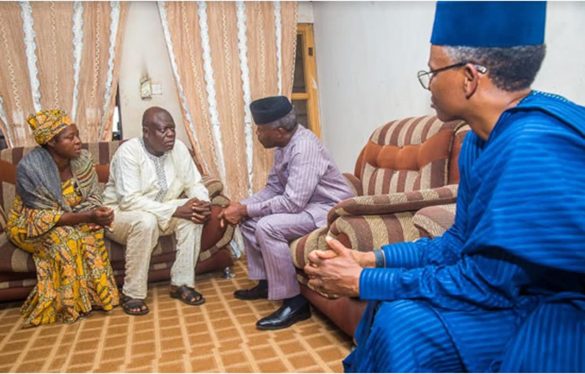 Vice President Yemi Osinbajo on a Condolence Visit to Late Precious Owolabl's Family
