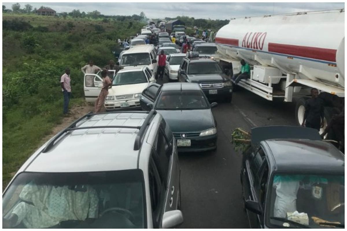 Image result for Protesting drivers block Kaduna-Abuja highway