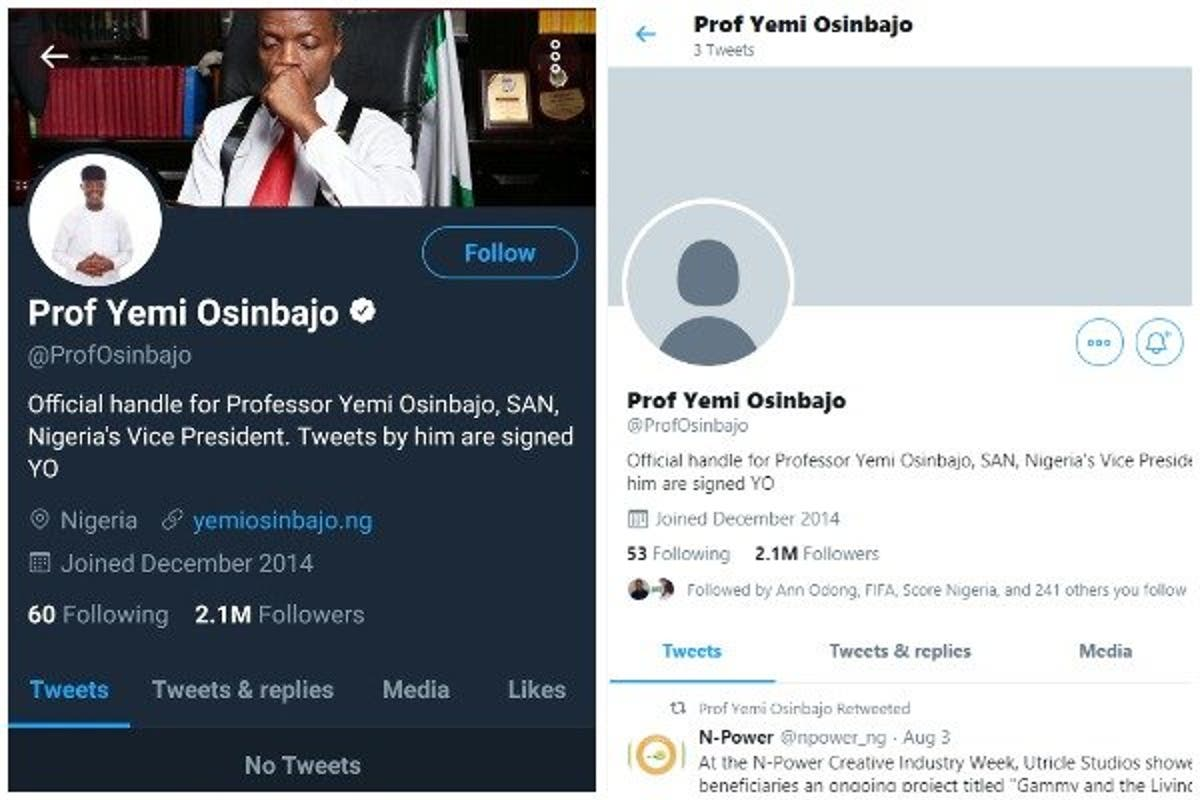 Image result for images of Yemi Osinbajo's Twitter account was unverified