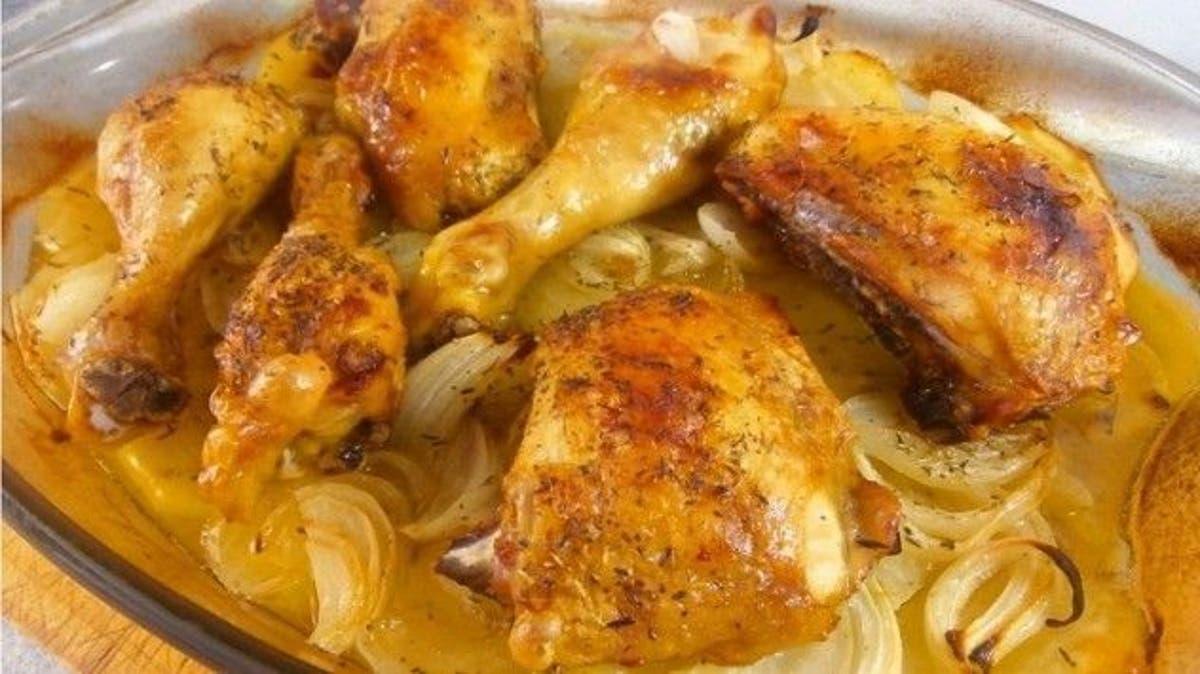 Cuartos de pollo al horno con verduras y puré de patata Receta de SD ...